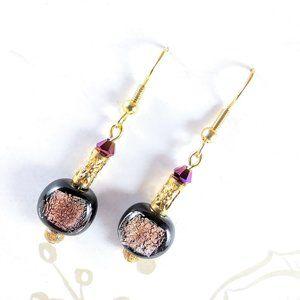 Purple Foil Lined Glass & Swarovski Earrings